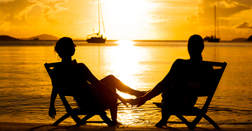 honeymoon couple watching sunset at the Caribbean beach